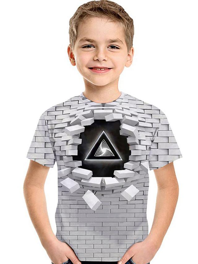 Děti Toddler Chlapecké Aktivní Základní Geometrický 3D Tisk Krátký rukáv Košilky Světle šedá