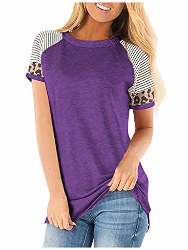 tunic tops for leggings for women,short sleeve shirts crew neck t shirt plain knit flared bottom fit loosely summer clothes maternity tunic over plus size purple 3xl