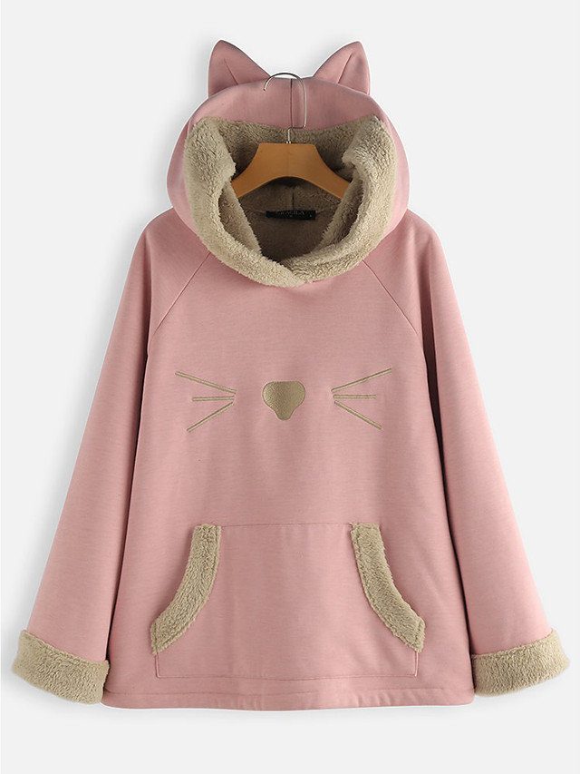 Novelty Hooded Sweatshirt Cat Ears Hoodie for Fans
