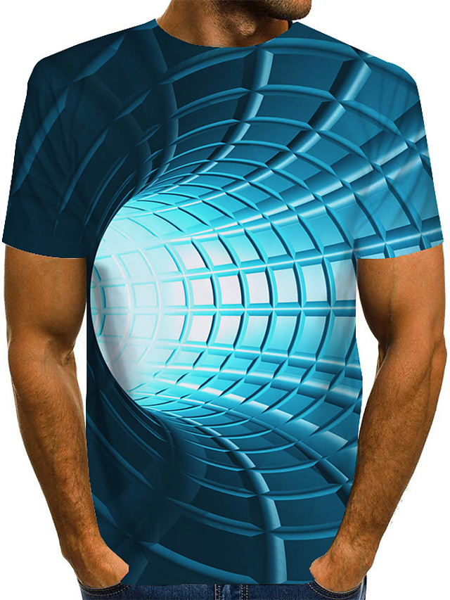 Men's T shirt 3D Print Graphic Optical Illusion Print Short Sleeve Daily Tops Basic Exaggerated Blue Purple Red