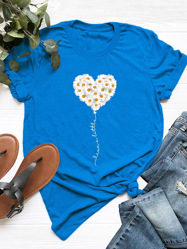 Women's Blouse Shirt Heart Round Neck Tops 100% Cotton Basic Basic Top Black Blue Blushing Pink
