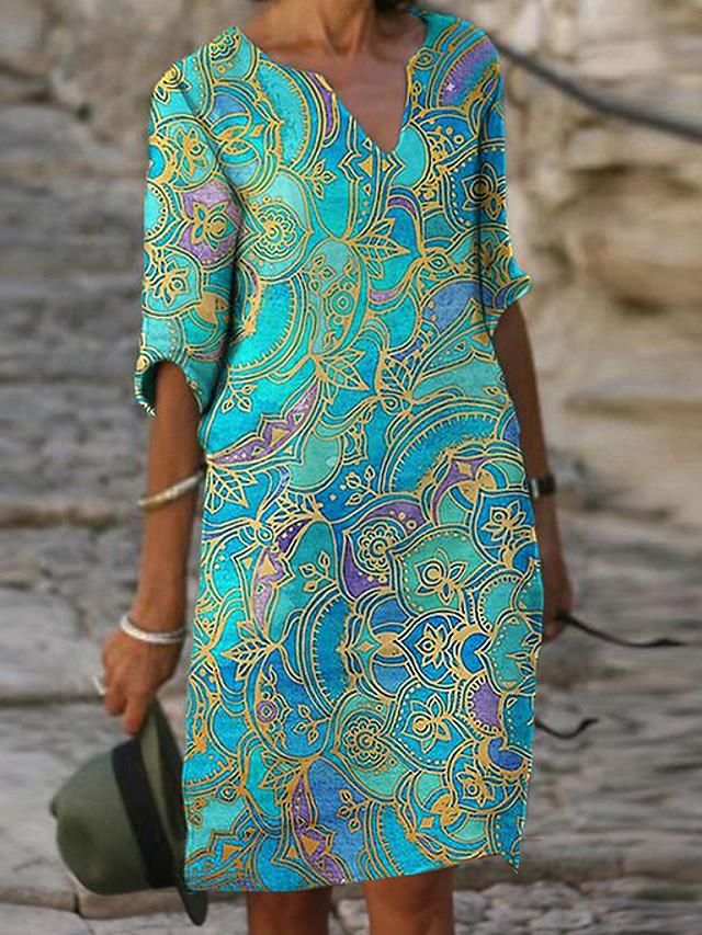 Women's Shift Dress Knee Length Dress Half Sleeve Tribal Print Fall Hot Casual vacation dresses 2021 Blue Green S M L XL XXL 3XL