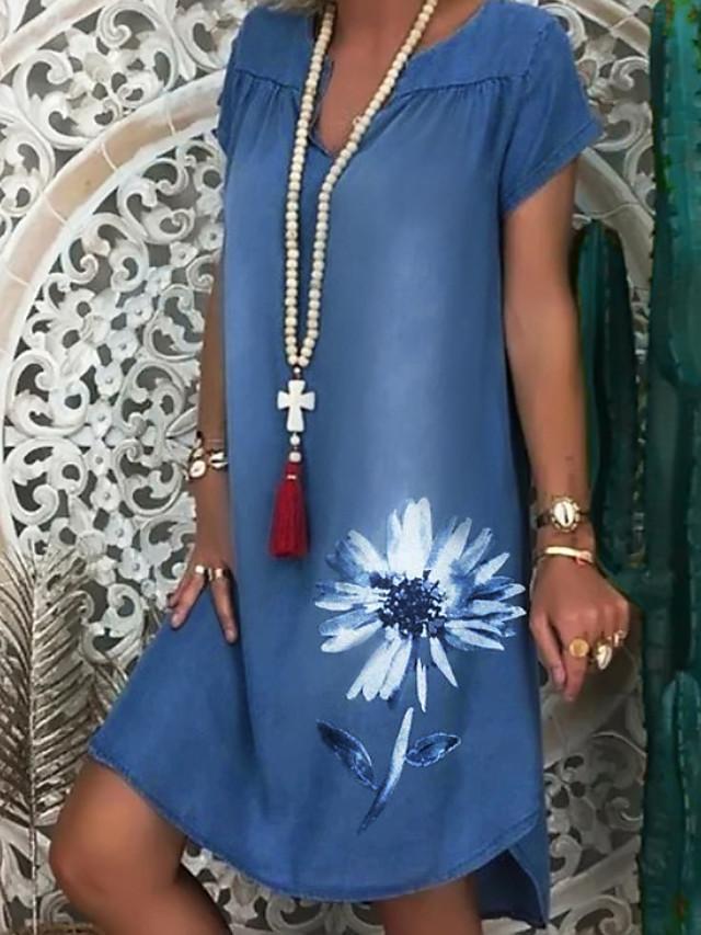 Women's Denim Dress Knee Length Dress White Navy Blue Short Sleeve Floral Print Summer V Neck Hot Casual 2021 M L XL XXL 3XL