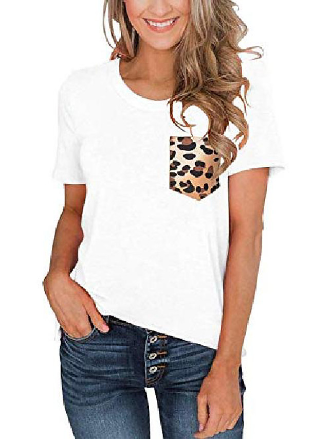 women& #39;s summer short sleeve round neck loose casual tops basic t-shirt blouses with leopard pocket white xx-large