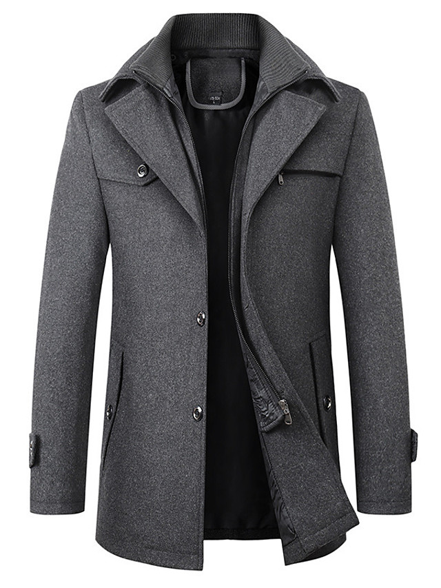 Men's Overcoat Long Solid Colored Daily Basic Long Sleeve Black Wine Camel Dark Gray XS S M L
