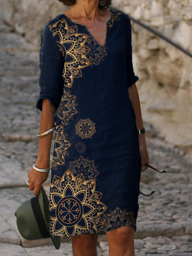 Women's Shift Dress Knee Length Dress Half Sleeve Floral Print Summer Hot Elegant vacation dresses 2021 Blue M L XL XXL 3XL