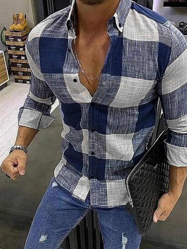 남성용 셔츠 체크무늬 긴 소매 일상 탑스 푸른 레드 블랙