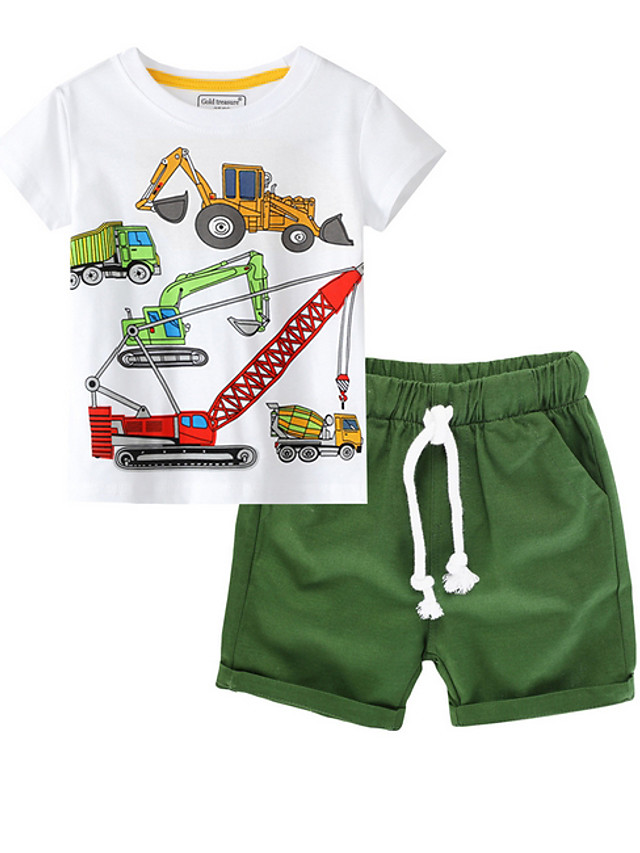 Kids Boys' Basic Print Short Sleeve Clothing Set Green