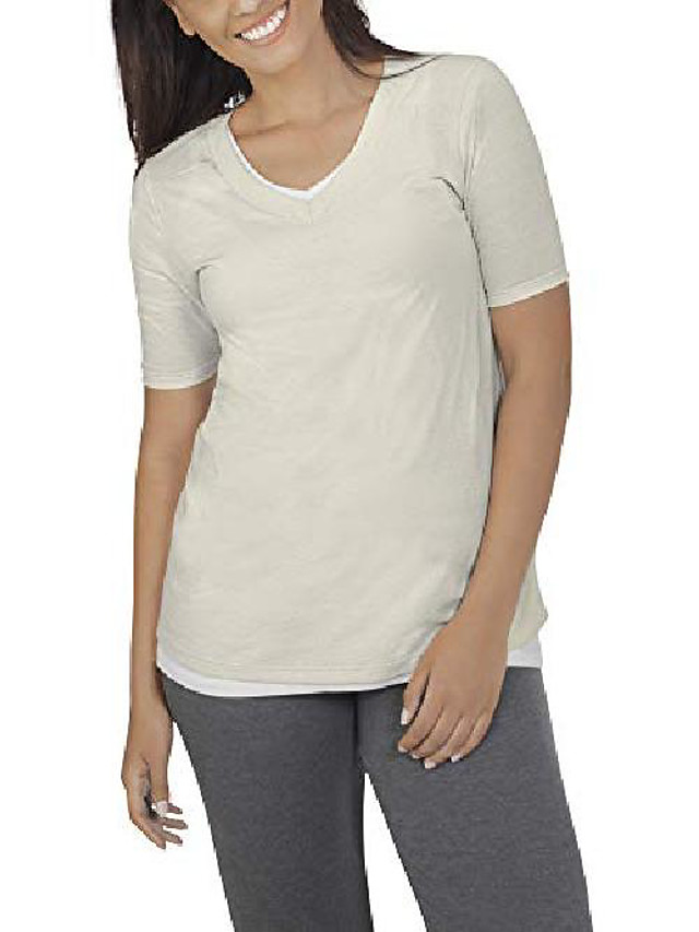 women& #39;s essentials all day elbow length v-neck t-shirt, white fleck, medium