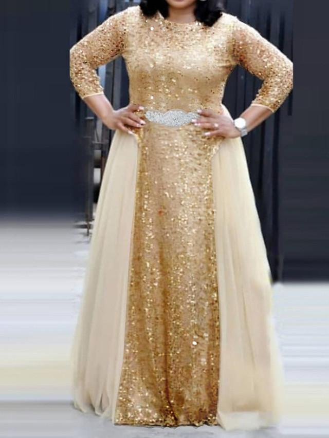 A-Line Elegant Plus Size Engagement Formal Evening Dress Jewel Neck 3/4 Length Sleeve Floor Length Chiffon Lace with Sash / Ribbon Sequin 2020