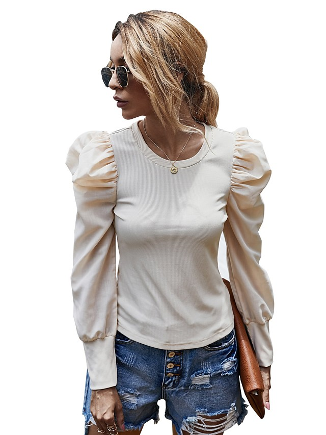 Women's Blouse Shirt Solid Colored Long Sleeve Patchwork Boat Neck Tops Puff Sleeve Basic Basic Top Black Beige