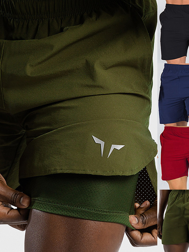 Men's Running Shorts Sports & Outdoor Bottoms 2 in 1 Liner Pocket Summer Gym Workout Running Walking Jogging Trail Quick Dry Breathable Soft Sport Solid Colored Red Army Green Black Navy Blue
