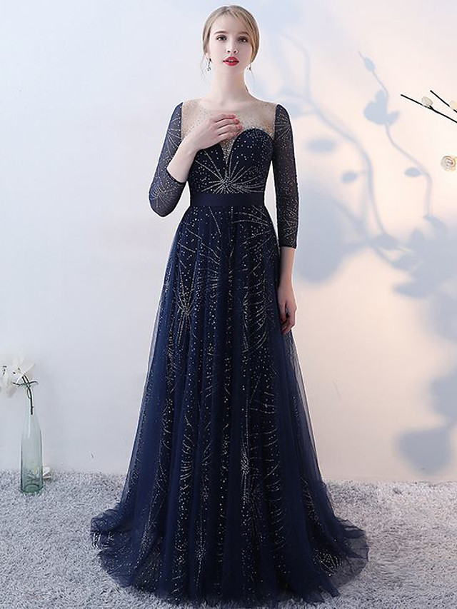 A-Line Elegant Luxurious Engagement Formal Evening Dress Illusion Neck 3/4 Length Sleeve Sweep / Brush Train Tulle with Pleats Crystals 2020