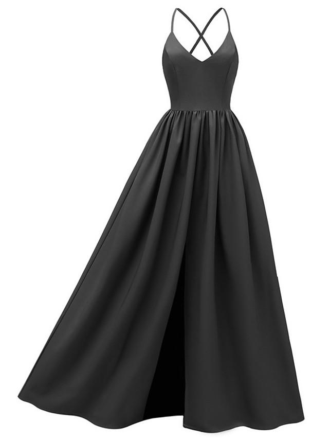 A-Line Elegant Minimalist Party Wear Formal Evening Dress Spaghetti Strap Sleeveless Floor Length Lace with Pleats 2020
