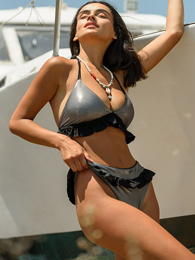 Women's Bikini Swimsuit Solid Colored Swimwear Bathing Suits Black Yellow