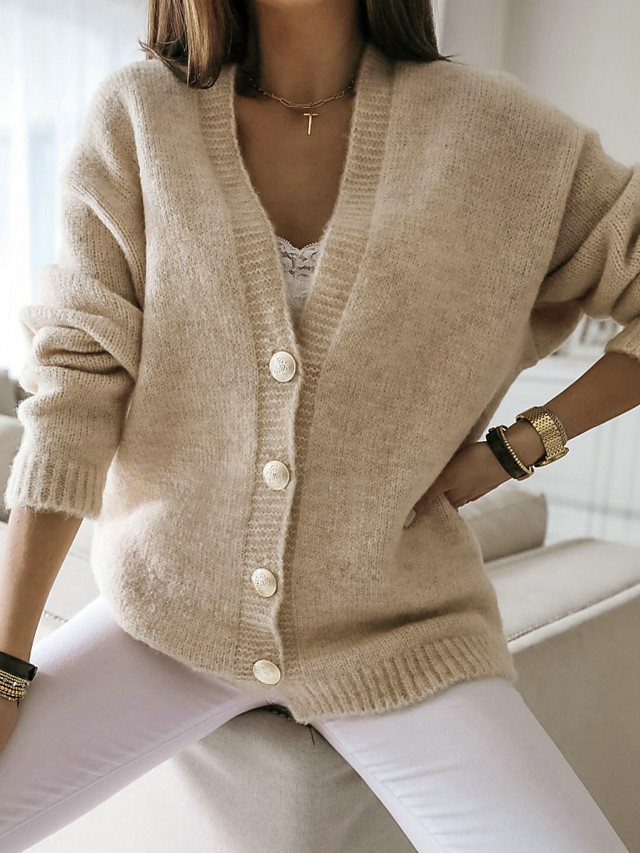 Women's Solid Colored Cardigan Long Sleeve Sweater Cardigans V Neck Winter Black Khaki