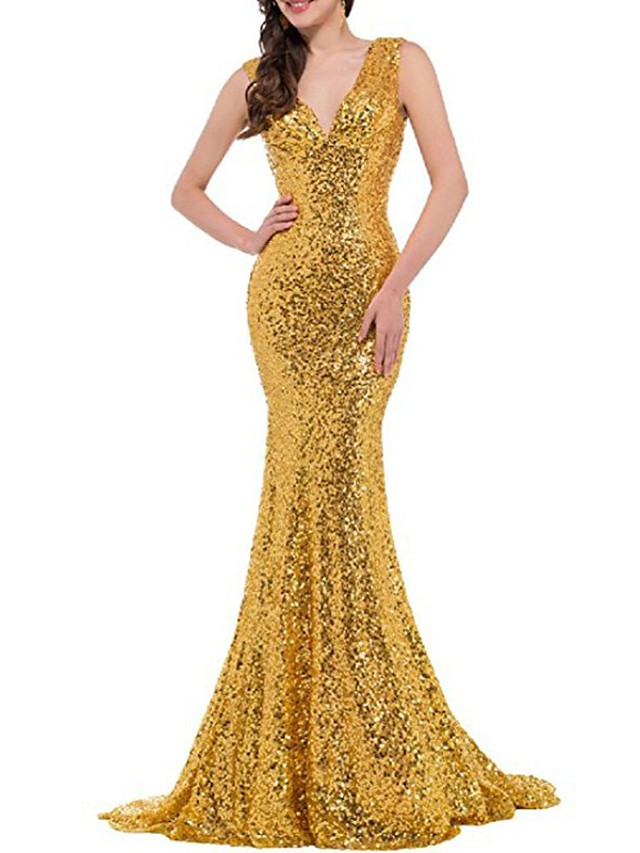 Mermaid / Trumpet Elegant Sparkle Wedding Guest Formal Evening Dress V Neck Sleeveless Sweep / Brush Train Sequined with Sequin 2020