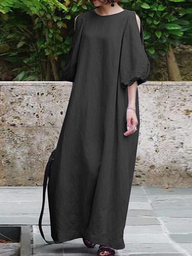 Maxi Long Dress Casual Summer Abstract Printed Long Sleeve Sundress Beach Party Tunic Dress KYLEON Dress for Women