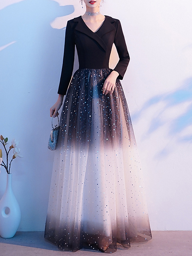 A-Line Color Block Glittering Wedding Guest Formal Evening Dress V Neck Long Sleeve Floor Length Spandex Tulle with Sequin 2020