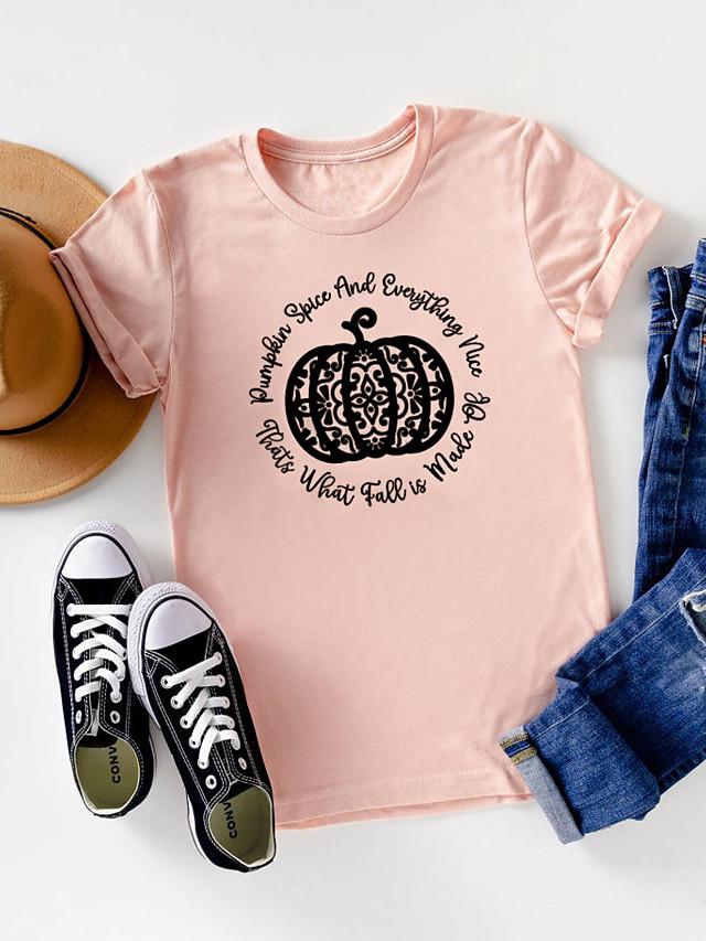 Women's Halloween T-shirt Graphic Prints Pumpkin Print Round Neck Tops 100% Cotton Basic Halloween Basic Top White Purple Red