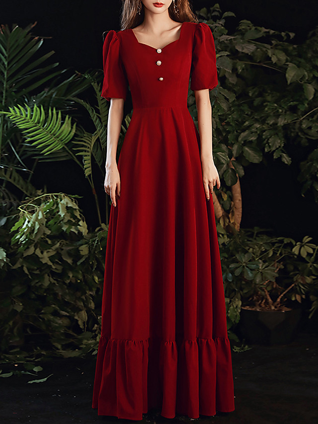 A-Line Minimalist Vintage Wedding Guest Formal Evening Dress Sweetheart Neckline Short Sleeve Floor Length Spandex with Buttons 2020