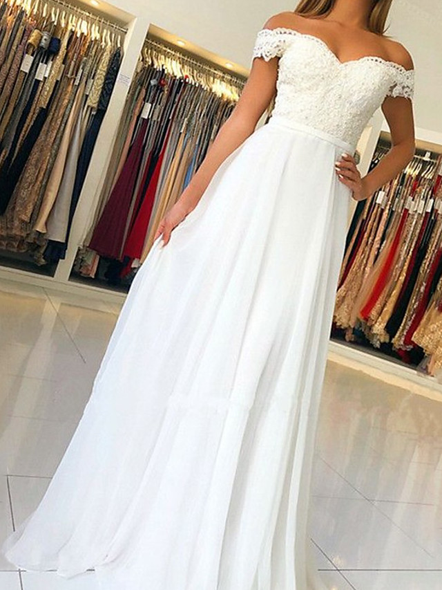 A-Line Beautiful Back Sexy Engagement Formal Evening Dress Off Shoulder Sleeveless Sweep / Brush Train Chiffon Charmeuse with Pleats 2020