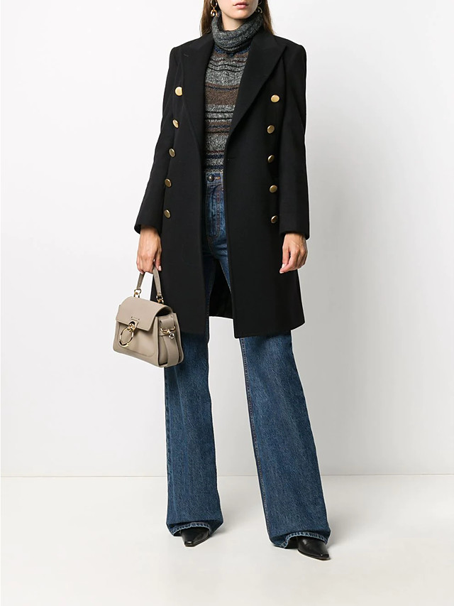 Women's Fall & Winter Double Breasted Coat Long Solid Colored Daily Basic Black Camel Navy Blue S M L XL / Slim