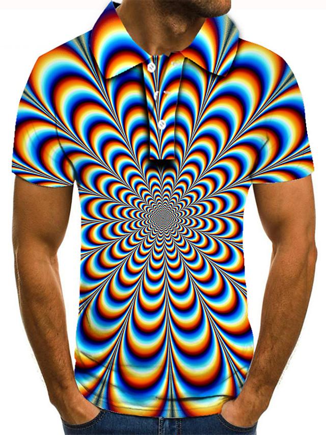 Men's Golf Shirt 3D Print Graphic Optical Illusion Print Short Sleeve Daily Tops Basic Rainbow