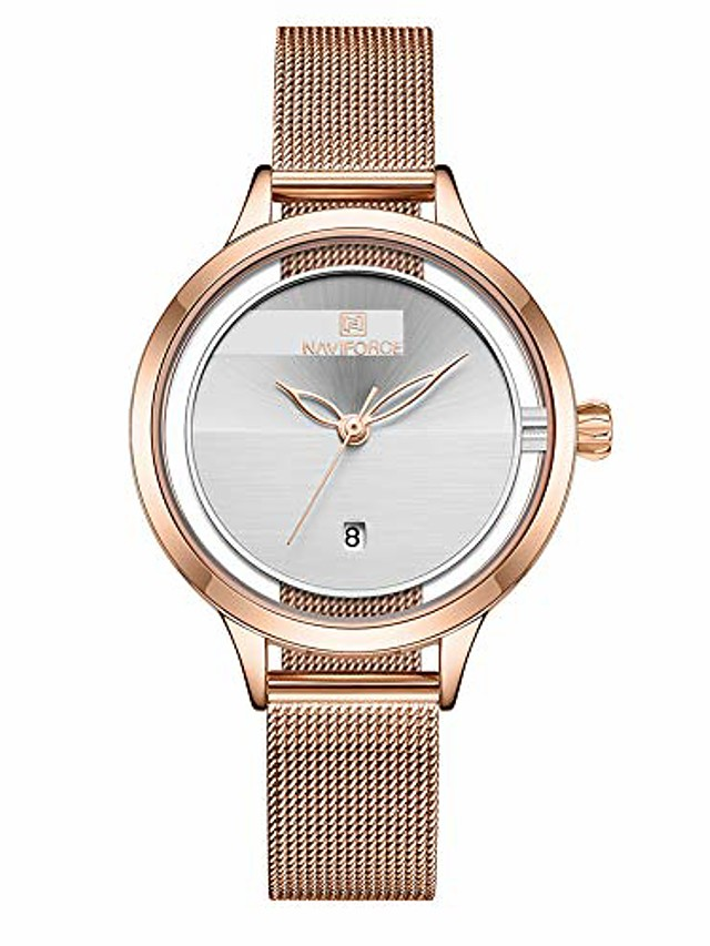 women's fashion minimalist waterproof wrist watch analog date with stainless steel mesh band