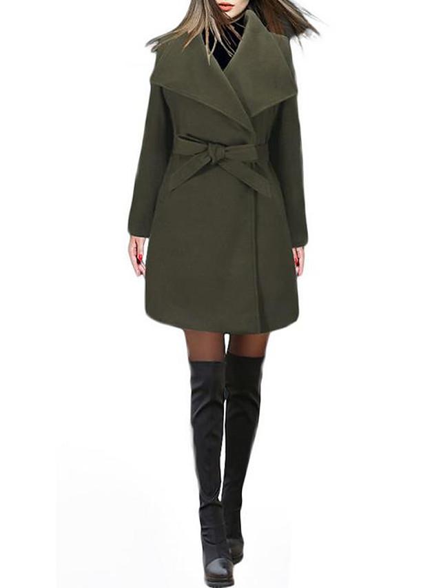 Women's Fall & Winter Coat Long Solid Colored Daily Basic Black Khaki Green S M L XL
