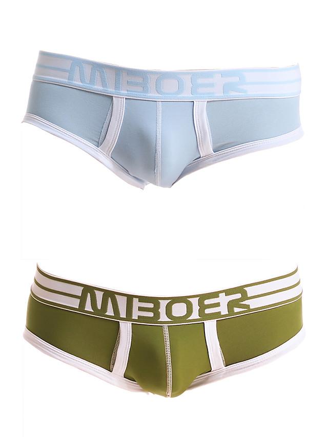 Men's 2 Piece Basic Briefs Underwear - Normal Low Waist Multi color M L XL