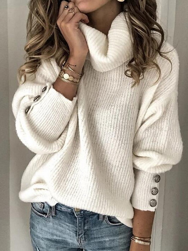 Women's Solid Color Plain Pullover Long Sleeve Sweater Cardigans Turtleneck Fall Winter White Black Blue
