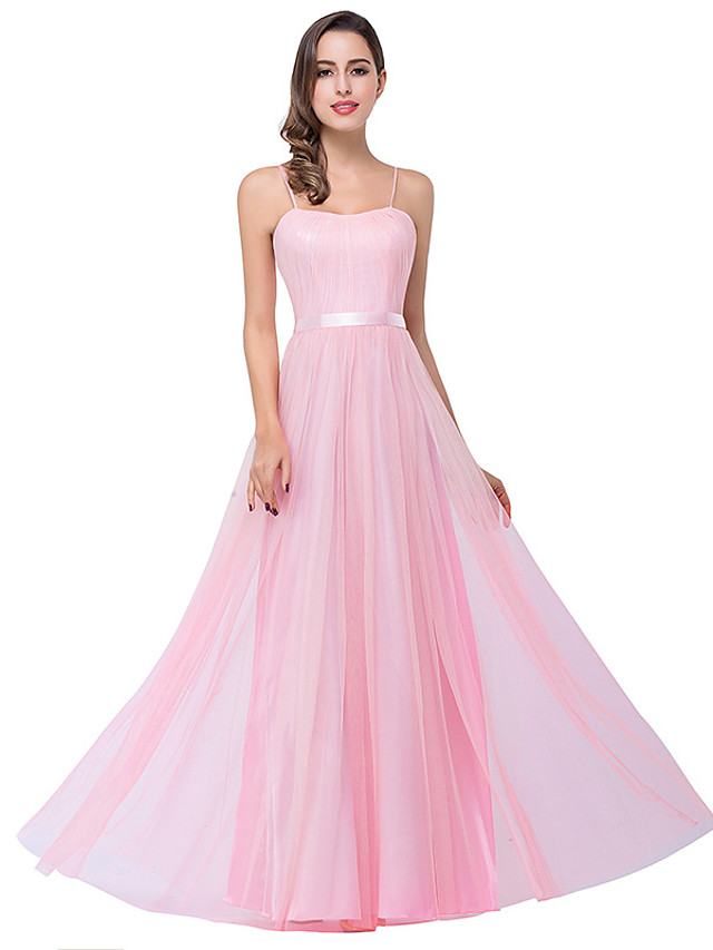 A-Line Elegant Minimalist Party Wear Formal Evening Dress Spaghetti Strap Sleeveless Floor Length Chiffon with Bow(s) Pleats 2020