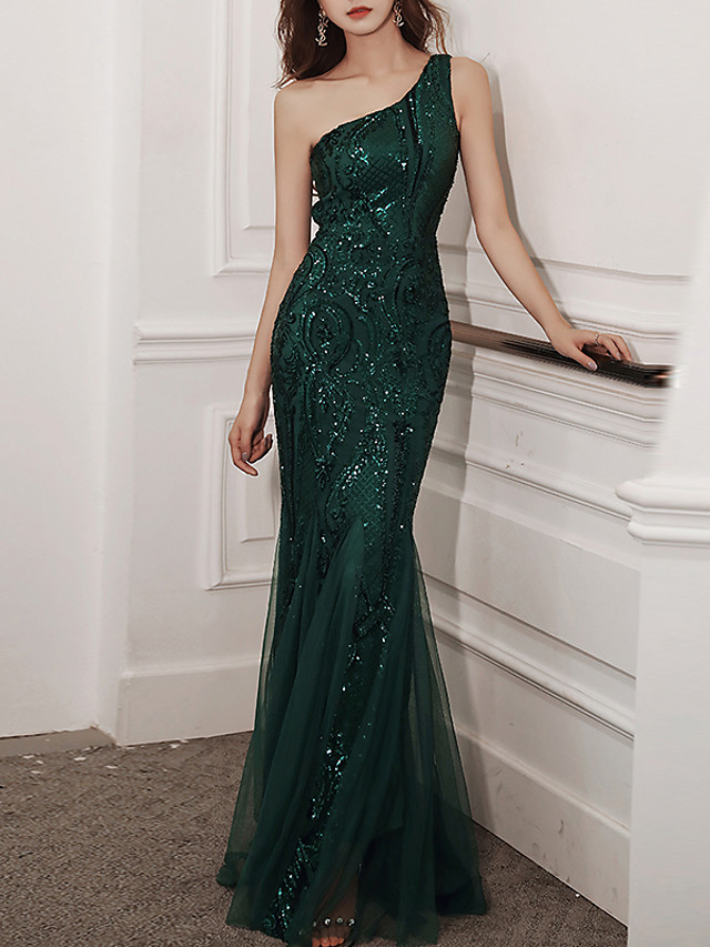 Mermaid / Trumpet Glittering Sexy Wedding Guest Formal Evening Dress One Shoulder Sleeveless Floor Length Tulle Sequined with Sequin 2020