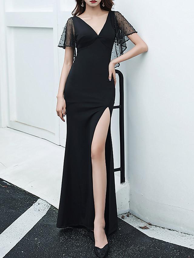 Mermaid / Trumpet Minimalist Sexy Party Wear Prom Dress V Neck Short Sleeve Floor Length Spandex Tulle with Split 2020