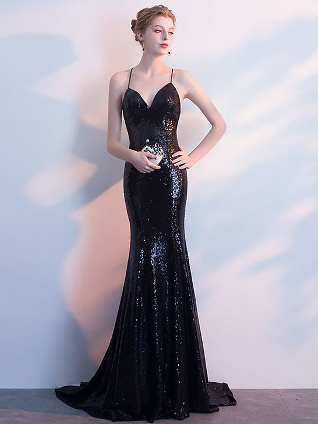 Mermaid / Trumpet Glittering Beautiful Back Wedding Guest Formal Evening Dress V Neck Sleeveless Sweep / Brush Train Spandex with Sequin 2020