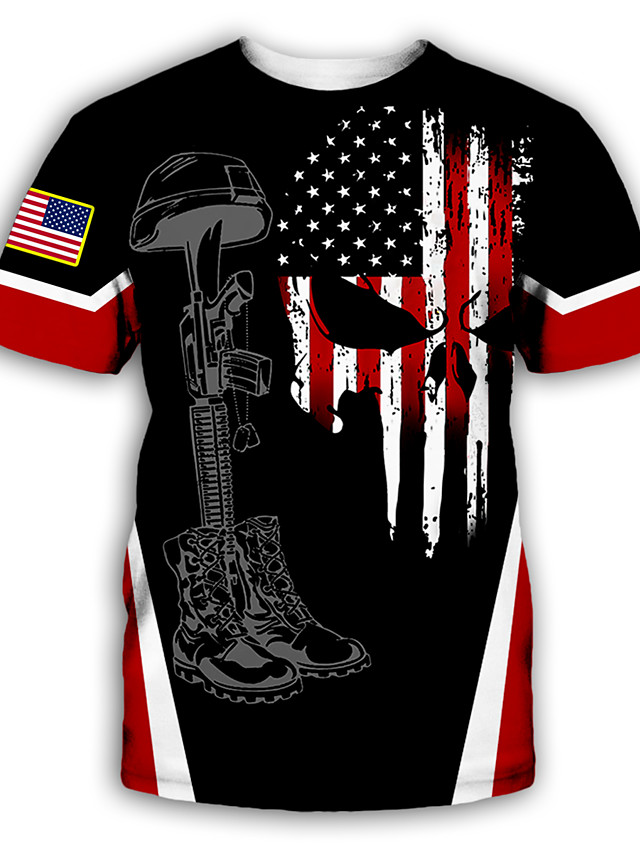 Men's Tee T shirt Shirt 3D Print Graphic Skull American Flag Plus Size Print Short Sleeve Party Tops Exaggerated Round Neck Blue Red Rainbow