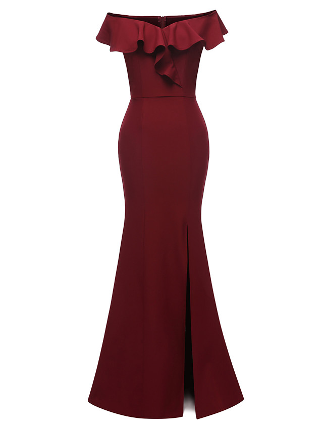 Mermaid / Trumpet Elegant Minimalist Party Wear Formal Evening Dress Off Shoulder Short Sleeve Floor Length Satin with Ruffles Split 2020
