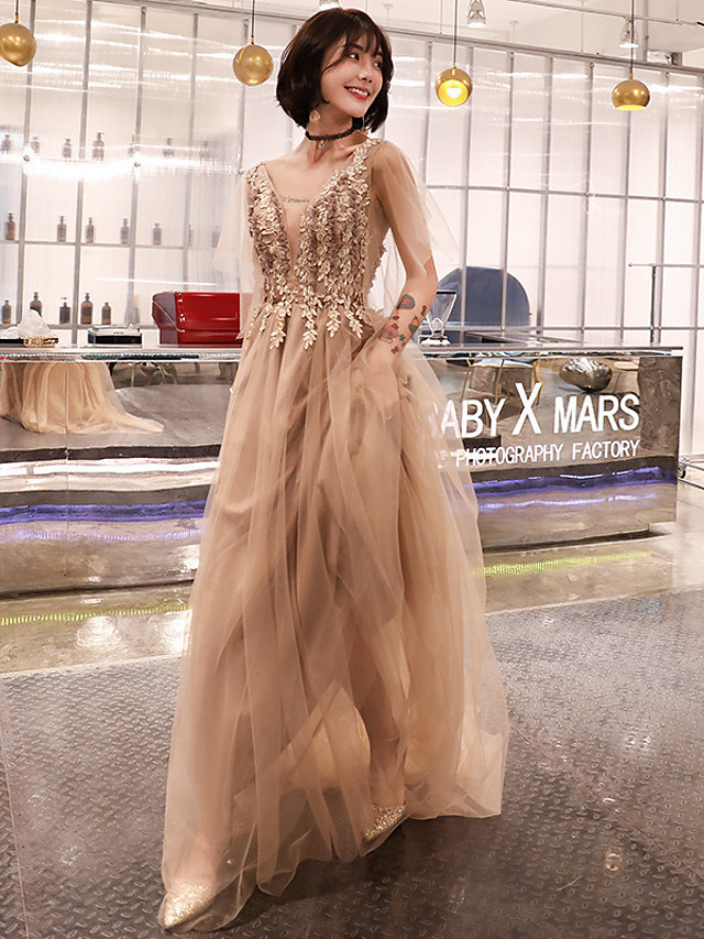 A-Line Elegant Floral Wedding Guest Formal Evening Dress Illusion Neck Half Sleeve Sweep / Brush Train Tulle with Pleats Appliques 2020