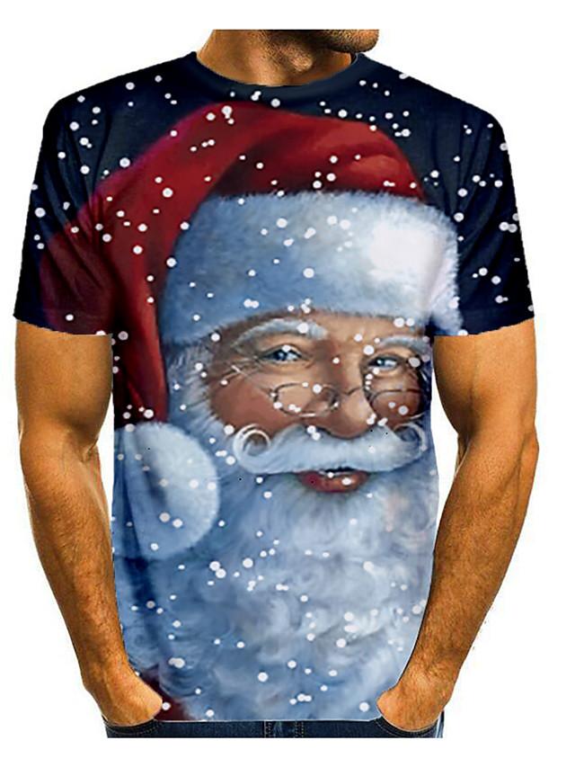 Men's T shirt 3D Print Graphic 3D Short Sleeve Christmas Tops Basic Round Neck Black / White