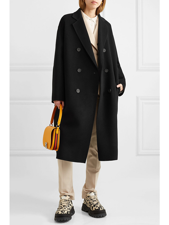Women's Fall & Winter Double Breasted Coat Long Solid Colored Daily Basic Wool Black S M L XL