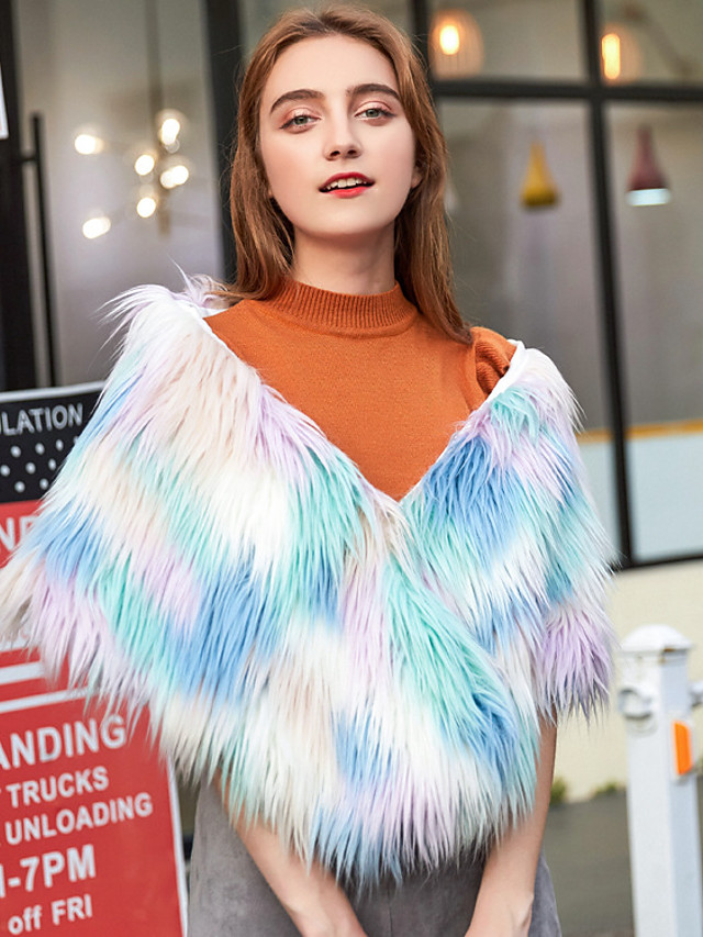Women's Fall & Winter V Neck Cloak / Capes Short Color Block Daily Basic Faux Fur Rainbow One-Size / Loose
