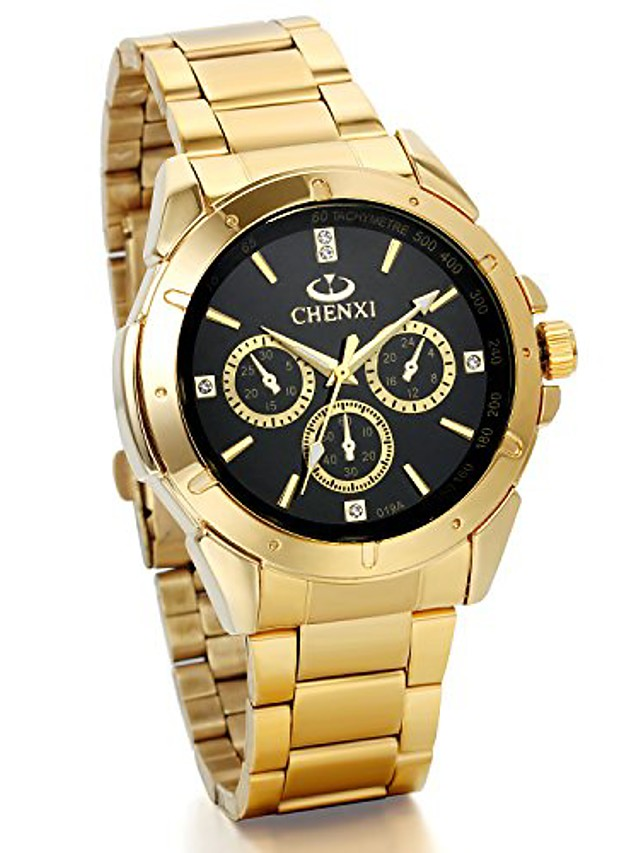 mens wrist watches gold stainless steel analog display dial with rhinestones gold watches for halloween