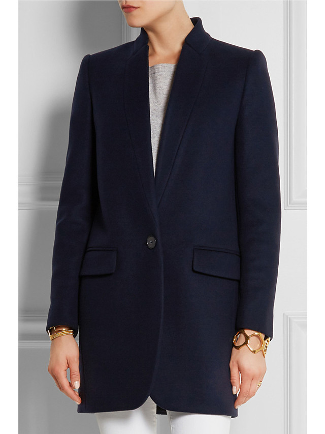 Women's Fall & Winter Single Breasted Stand Collar Coat Long Solid Colored Daily Basic Black Red Camel Navy Blue S M L XL