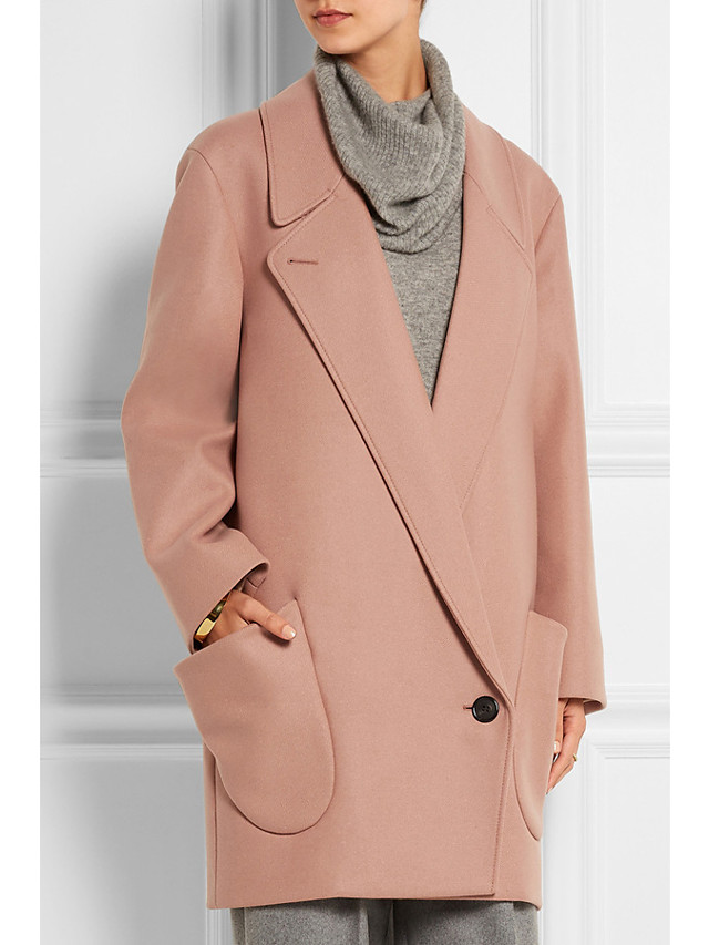 Women's Fall & Winter Single Breasted Shirt Collar Coat Long Solid Colored Daily Basic Blushing Pink S M L XL