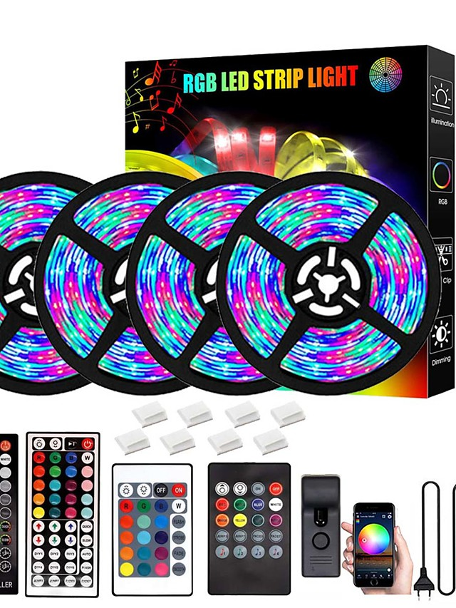 LED Strip Lights 20M Bluetooth DIY Color changing 2835 RGB 15M 10M 5M LED Light Strip Kit with Remote and Hidden Controller Easy Installation for TV Backlight Room and Bedroom