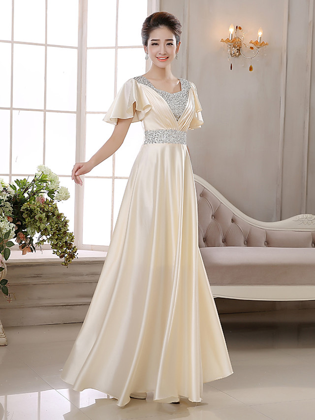 A-Line Elegant Minimalist Wedding Guest Formal Evening Dress V Neck Short Sleeve Floor Length Charmeuse with Pleats Crystals 2020