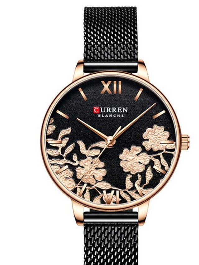 CURREN Women's Quartz Watches Quartz Modern Style Floral Style Elegant Water Resistant / Waterproof Analog Rose Gold Black Silver / One Year / Stainless Steel / Japanese / Shock Resistant / Japanese