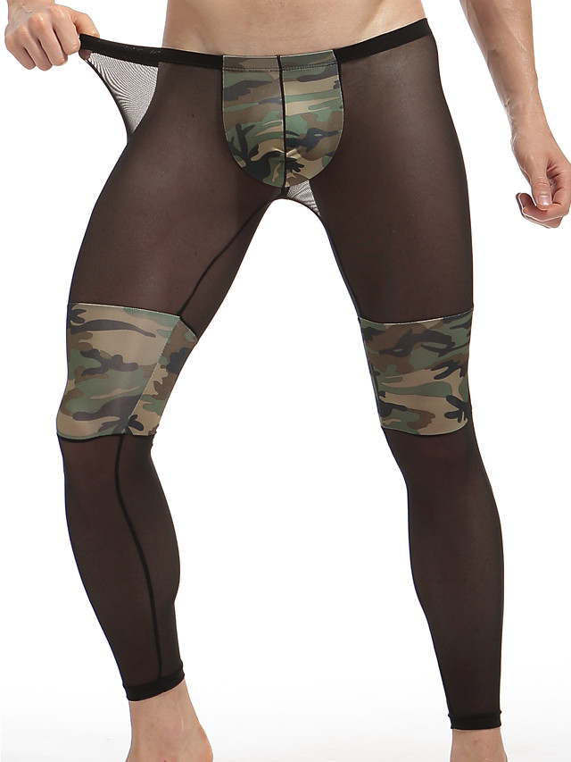 Men's Normal Polyester Sexy Long Johns Camo / Camouflage Low Waist