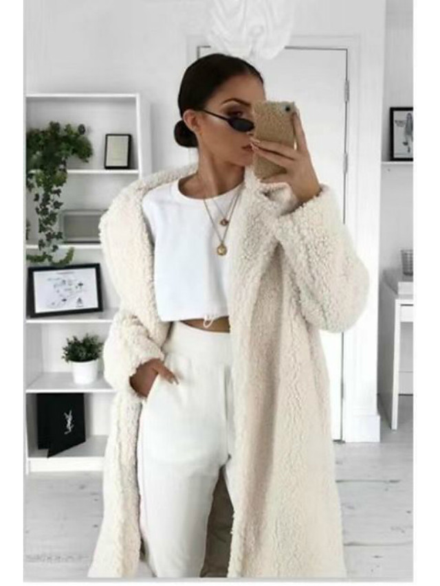 Women's Fall & Winter Coat Long Solid Colored Daily Basic White Black Blue Khaki S M L XL
